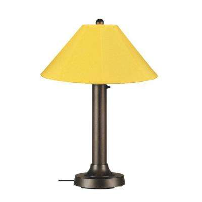 Catalina 34 in. Bronze Outdoor Table Lamp with Buttercup Shade