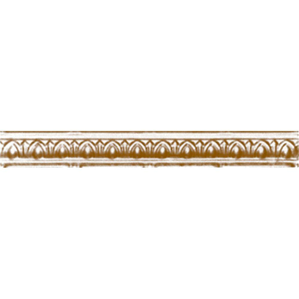 Shanko 2 in. x 4 ft. x 2 in. Satin Brass Nail-up/Direct Application Tin Ceiling Cornice (6-Pack)