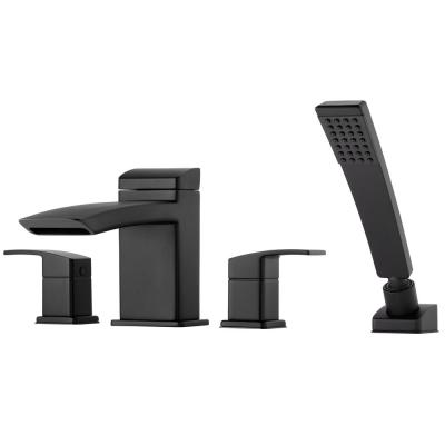 Kenzo 2-Handle Deck Mount Roman Tub Faucet Trim Kit with Handshower in Matte Black (Valve Not Included)