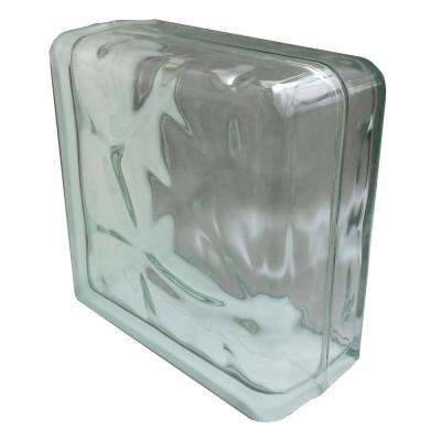Nubio 4 in. Thick Series 8 in. x 8 in. x 4 in (1-Pack) Double End Wave Pattern Glass Block