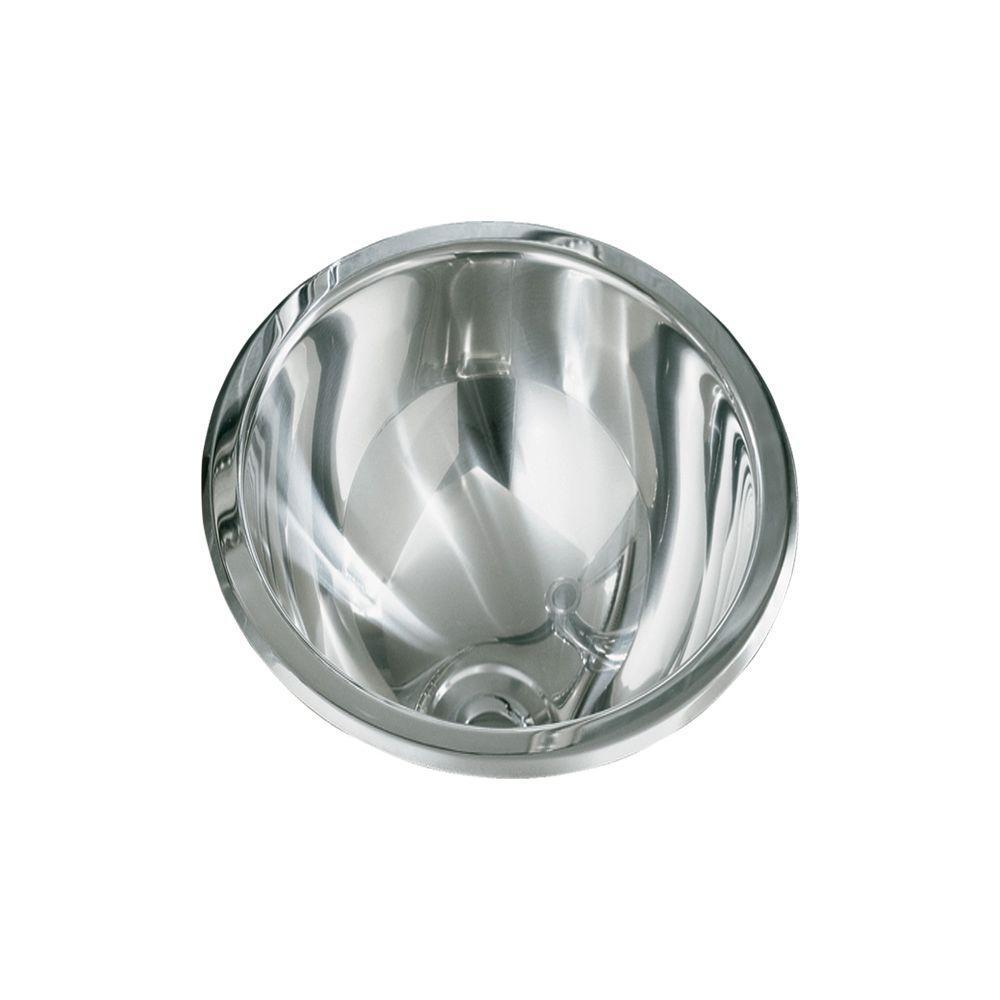 STERLING Round Drop-In Bathroom Sink in Stainless Steel