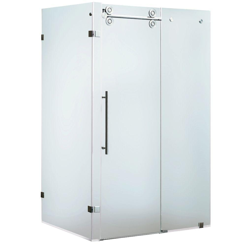 Vigo 35 in. x 73 in. Frameless Bypass Shower Enclosure in Stainless Steel with Frosted Glass