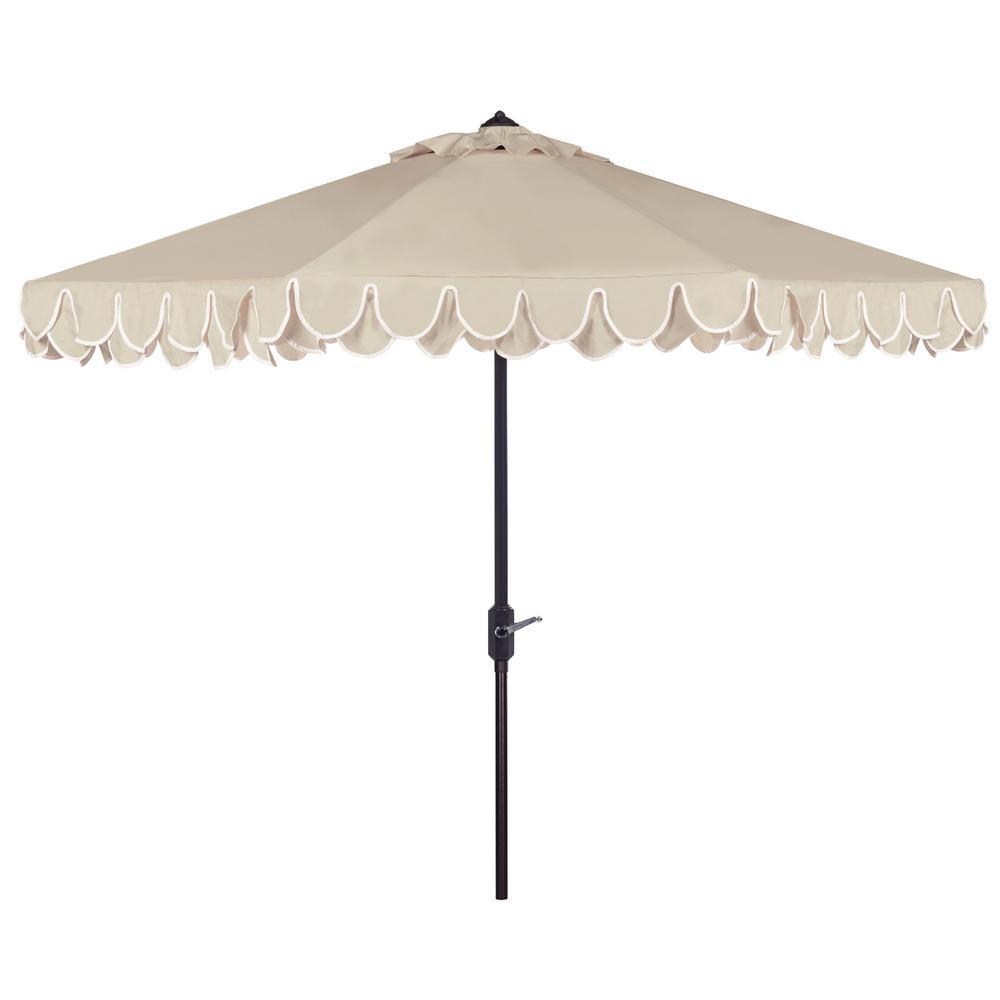 Elegant Valance 11 ft. Aluminum Market Tilt Patio Umbrella in Beige/White