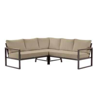 West Park Aluminum Outdoor Patio Sectional Sofa Seating Set with CushionGuard Putty Tan Cushions