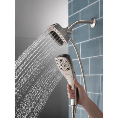 In2ition Two-in-One 5-Spray 5.8 in. Dual Wall Mount Fixed and Handheld Shower Head in Stainless