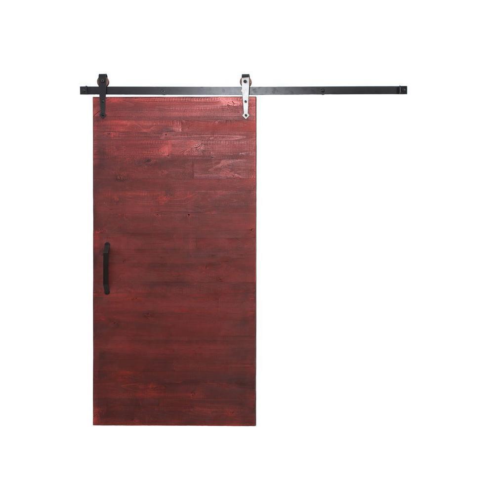 36 in. x 84 in. Reclaimed Barn Red Wood Barn Door with Arrow Sliding Door Hardware Kit
