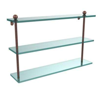 22 in. L  x 15 in. H  x 5 in. W 3-Tier Clear Glass Bathroom Shelf in Antique Copper