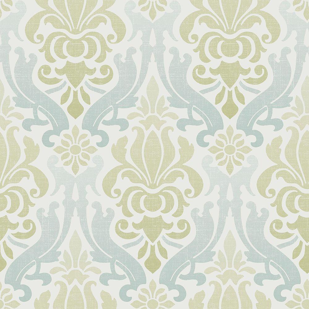 nuwallpaper multi color blue and green nouveau damask wallpaper
