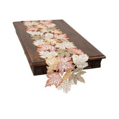 0.1 in. H x 15 in. W x 108 in. D Autumn Leaves Embroidered Cutwork Table Runner in White