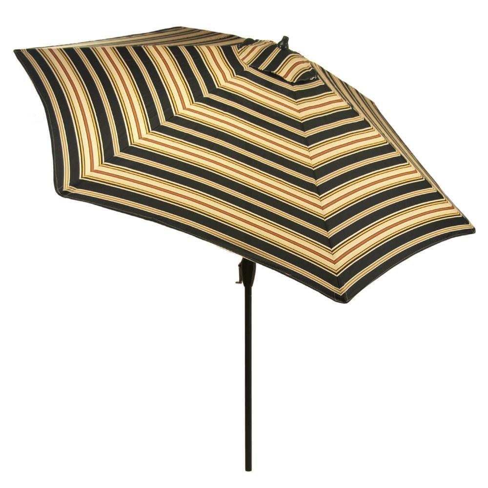 9 Ft. Aluminum Market Patio Umbrella In Charcoal Stripe With Push Button  Tilt