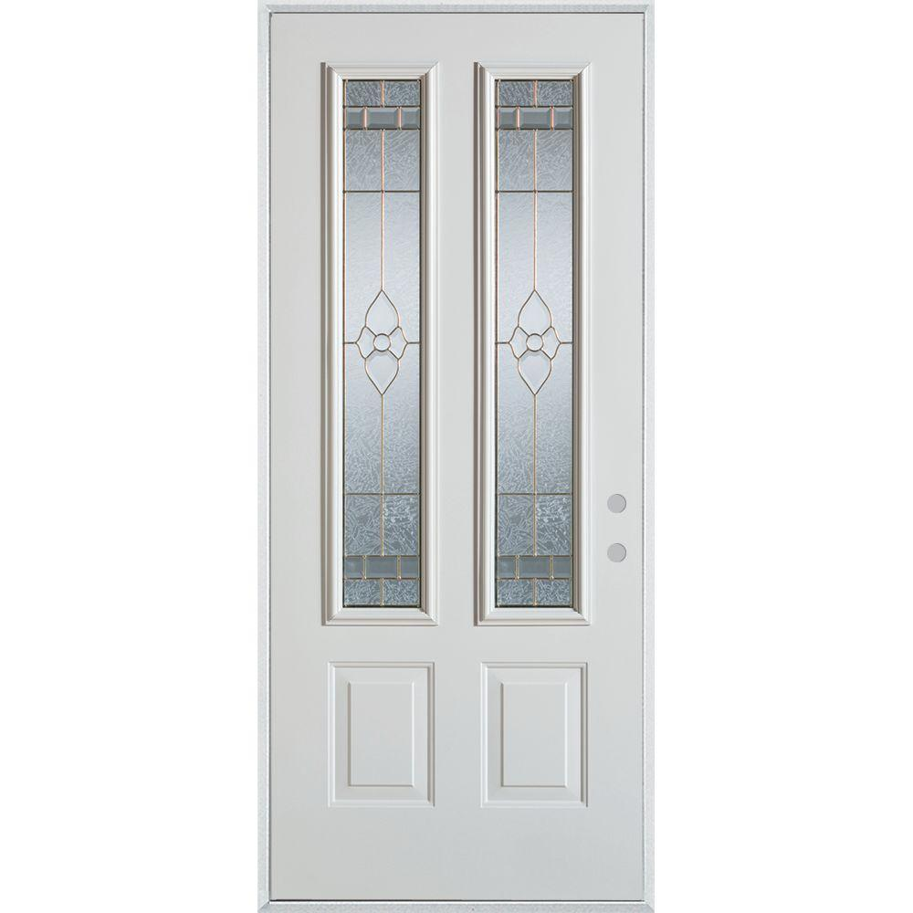 36 in. x 80 in. Traditional Brass 2 Lite 2-Panel Prefinished