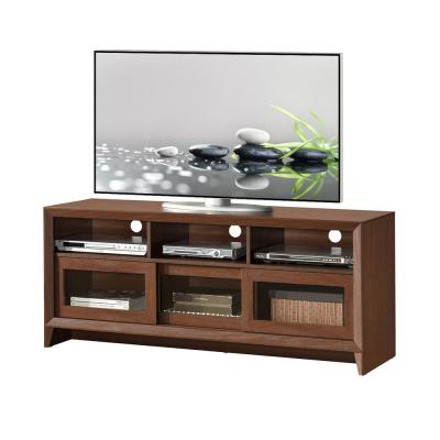 17 in. Hickory Composite TV Stand Fits TVs Up to 60 in. with Storage Doors