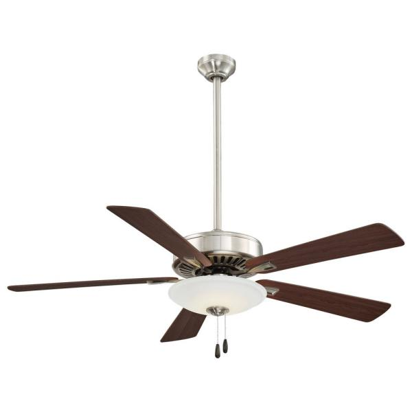 Contractor Uni-Pack 52 in. Integrated LED Indoor Brushed Nickel Ceiling Fan with Light