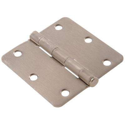3-1/2 in. Satin Nickel Residential Door Hinge with 1/4 in. Round Corner Removable Pin Full Mortise (9-Pack)