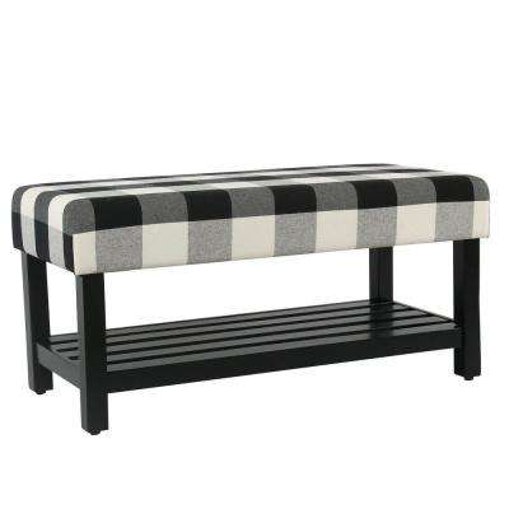 HomePop Decorative Bench with Wooden Storage - Black Plaid
