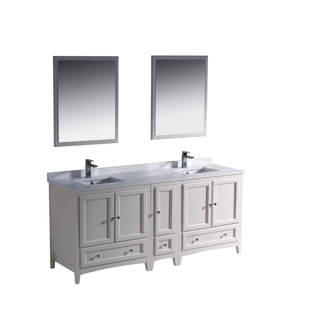 Fresca Oxford 72 in. Double Vanity in Antique White with Ceramic Vanity Top in White and Mirror with Side Cabinet