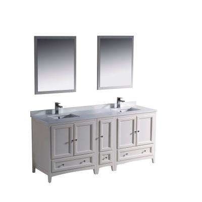 Oxford 72 in. Double Vanity in Antique White with Ceramic Vanity Top in White and Mirror with Side Cabinet