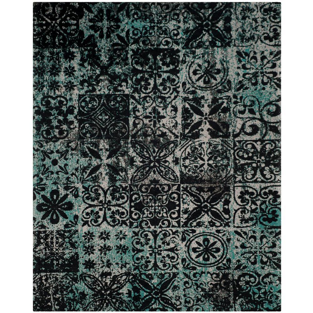 safavieh classic vintage teal black 8 ft x 10 ft area rug clv221a 8 the home depot. Black Bedroom Furniture Sets. Home Design Ideas