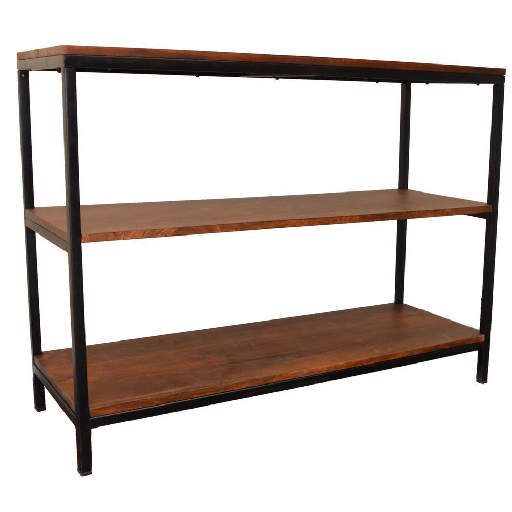 Brayden Chestnut/Black 3 Shelf Console/TV Stand