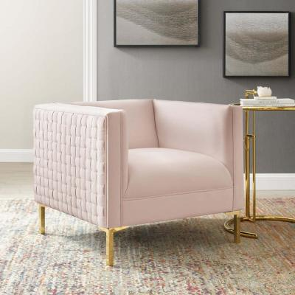Resonate Pink Performance Velvet Armchair