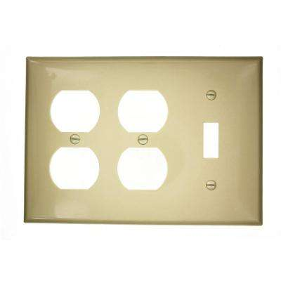 3-Gang Standard Size 1-Toggle 2-Duplex Receptacles Nylon Combination Wall Plate Ivory