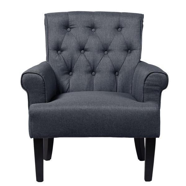 Baxton Studio Barret Contemporary Gray Fabric Upholstered Accent Chair 28862-6663-HD