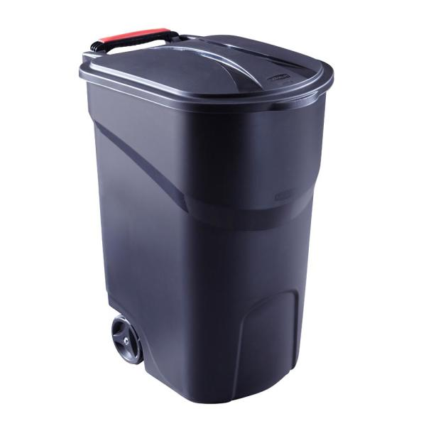 Rubbermaid Roughneck 45 Gal Black Wheeled Trash Can With Lid 2008188 The Home Depot