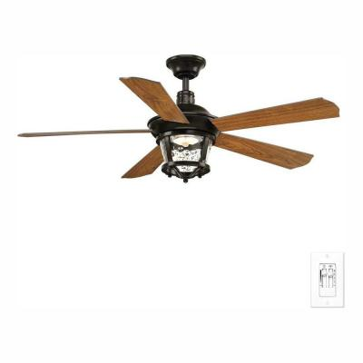 Smyrna Collection 52 in. LED Antique Bronze Indoor or Outdoor Ceiling Fan with Light Kit