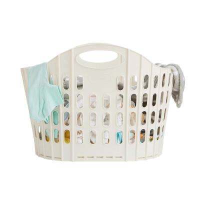 38 Liter Ivory Plastic Laundry Basket Foldable Storage Hamper
