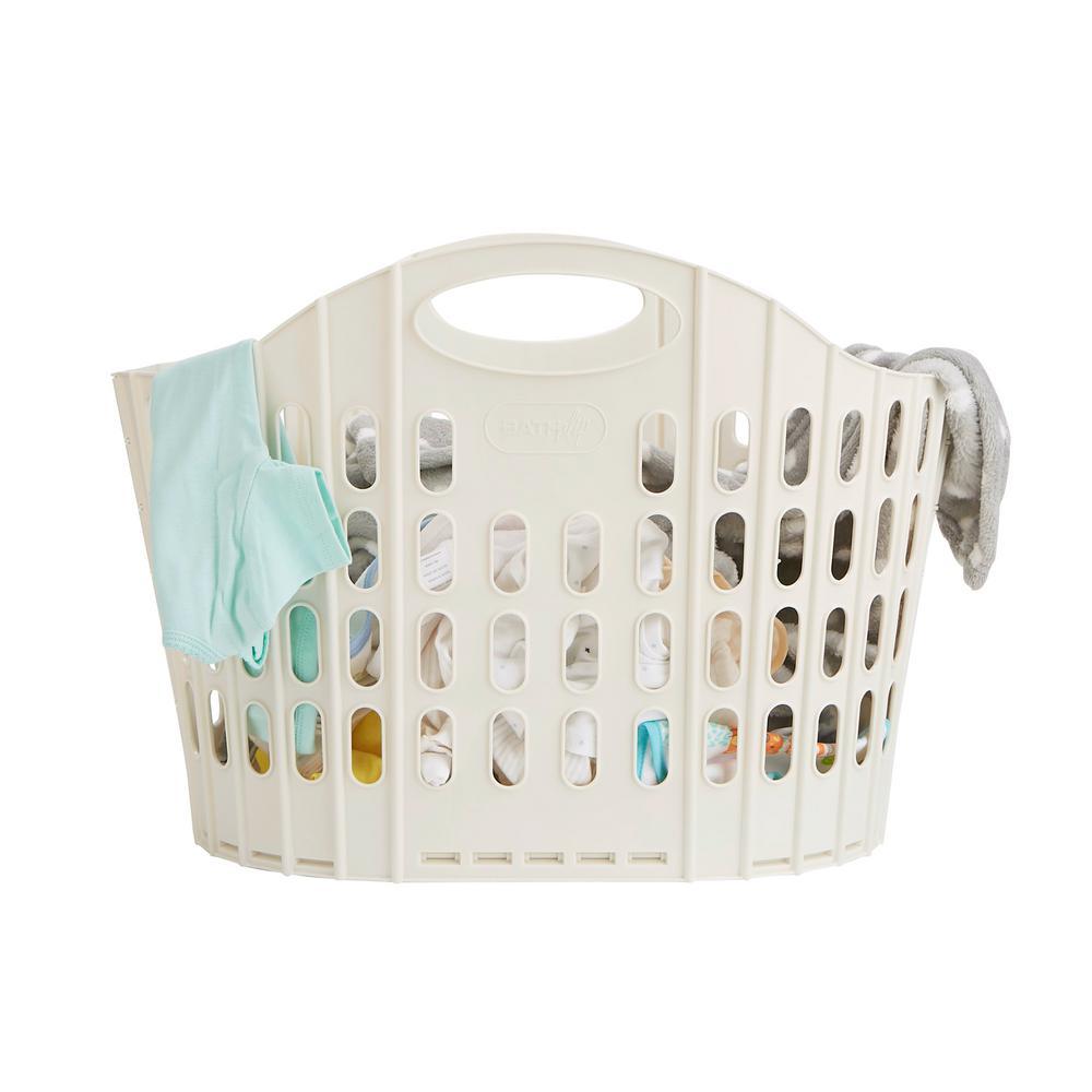 38 Liter Ivory Plastic Laundry Basket Foldable Storage Hamper