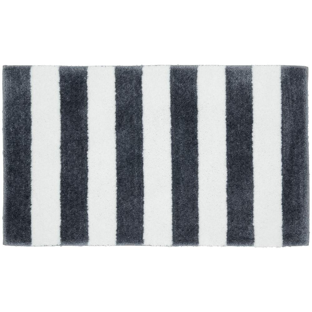 Beach Stripe Cinder Gray/White 21 in. x 34 in. Bath Rug