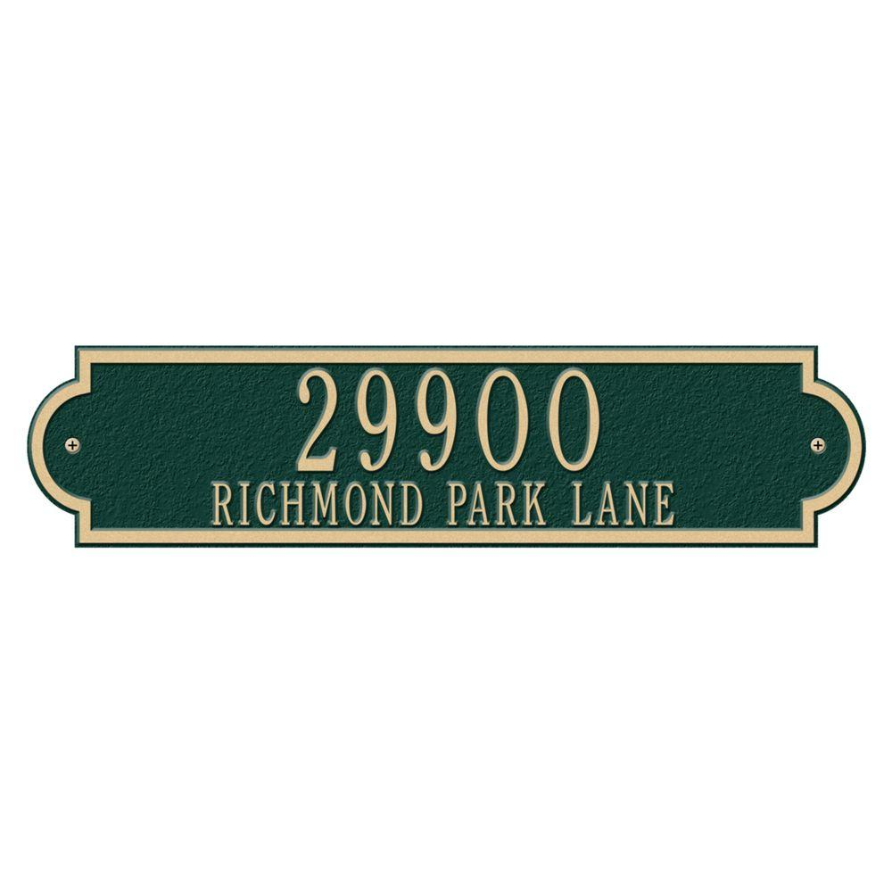 Richmond Rectangular Green/Gold Estate Wall Two Line Horizontal Address Plaque