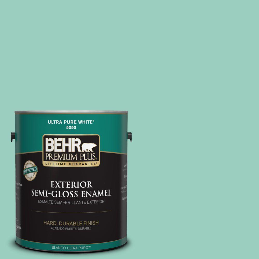 1-gal. #HDC-SM14-6 Thermal Aqua Semi-Gloss Enamel Exterior Paint