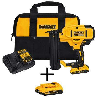 20-Volt Max Lithium-Ion 18-Gauge Cordless Brad Nailer Kit with Bonus Lithium-Ion Compact Battery Pack 2.0Ah