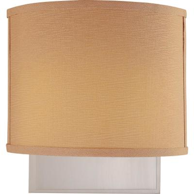Calare 2-Light Indoor Brushed Nickel Wall Mount Sconce with Squared Beige Handcrafted Linen Drum Shade