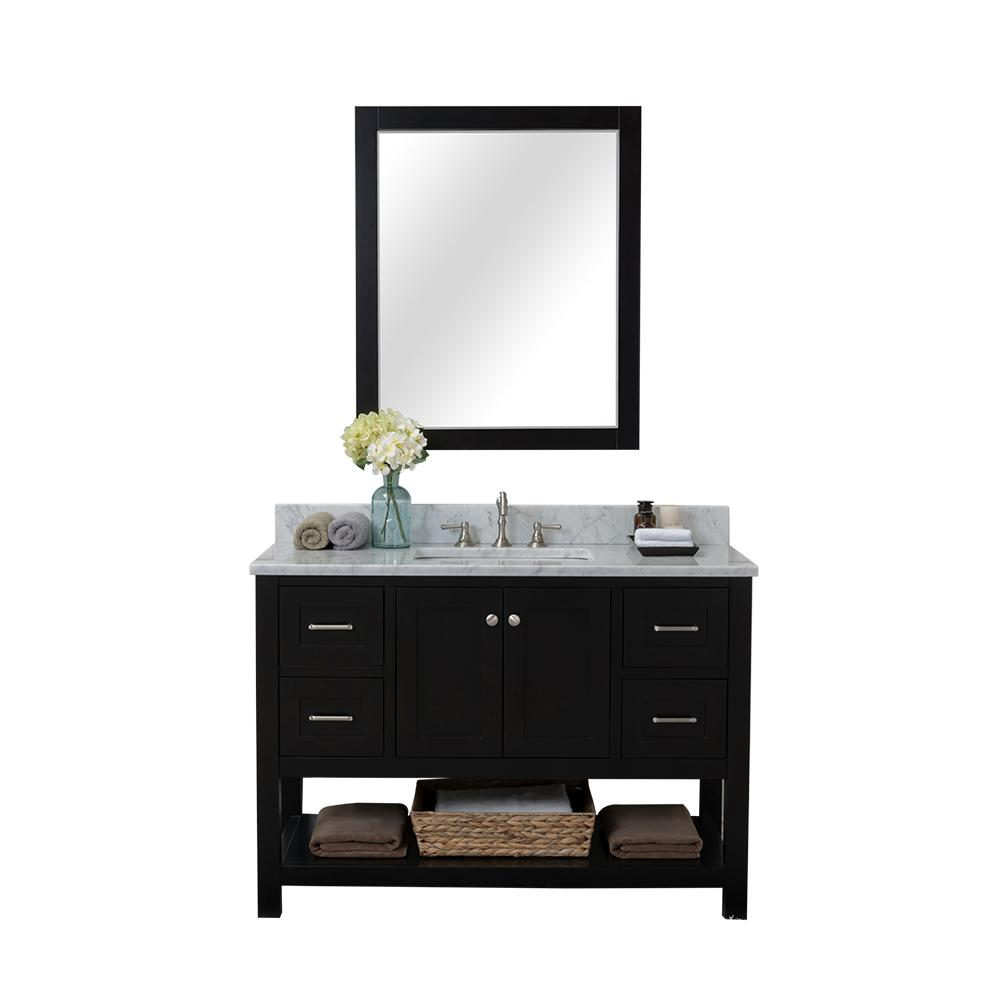 Alya Bath Wilmington 48 in. W x 34.2 in. H x 22 in. D Bath Vanity in Espresso with Marble Vanity Top in White with White Basin