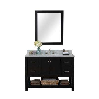 Wilmington 48 in. W x 34.2 in. H x 22 in. D Bath Vanity in Espresso with Marble Vanity Top in White with White Basin