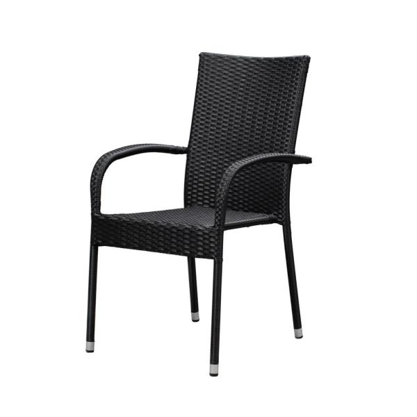 Patio Sense Morgan Stacking Resin Wicker Outdoor Dining Chair In Black 4 Pack 63166 The Home Depot