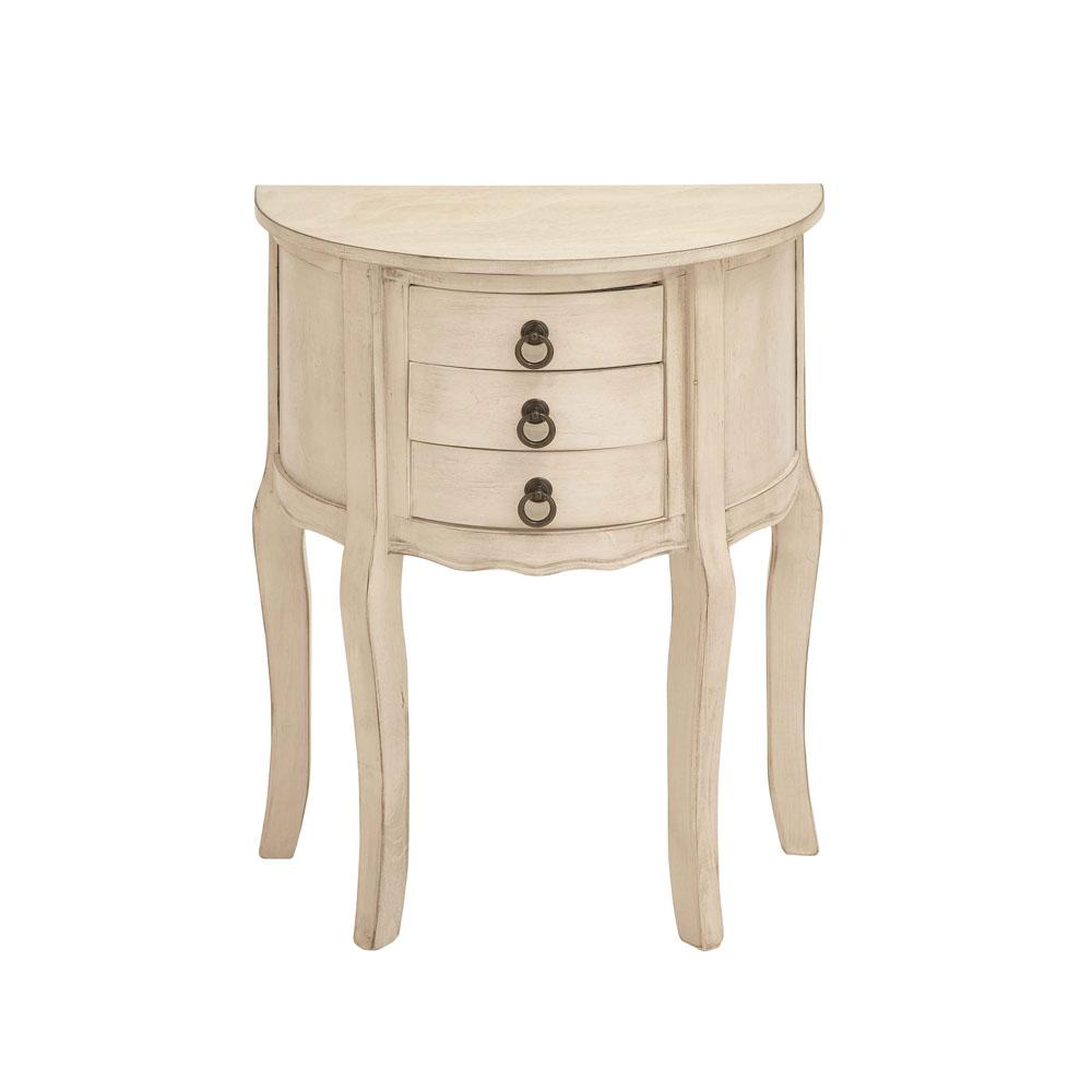 Delicieux Antique White Half Moon Accent Table With 3 Mini Drawers