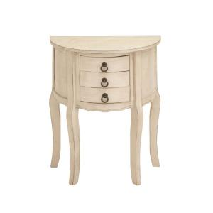 Antique White Half Moon Accent Table with 3 Mini Drawers by