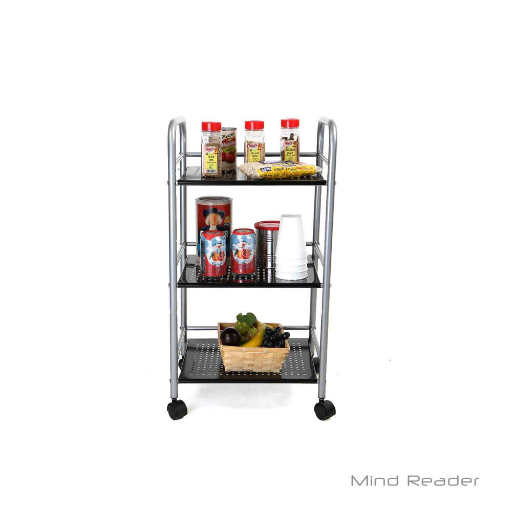Silver/Black Metal Kitchen Trolley with 3-Tiers