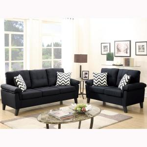 Venetian Worldwide Liguria 2-Piece Black Sofa Set VENE-F6900 ...