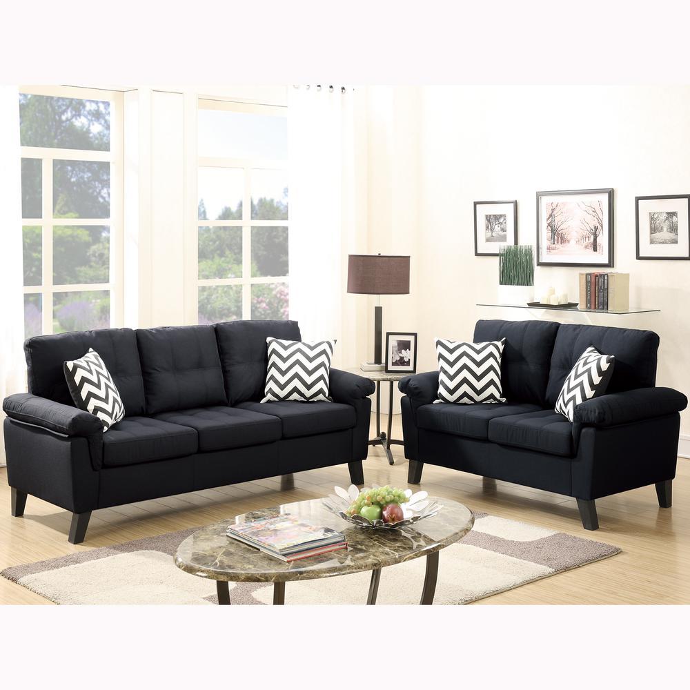 Liguria 2-Piece Black Sofa Set