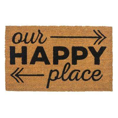 Happy Place 28 in. x 17 in. Non-Slip Coir Door Mat