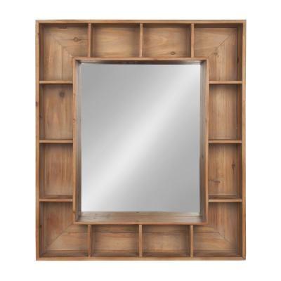 Medium Rectangle Natural Shelves & Drawers Casual Mirror (30 in. H x 26 in. W)