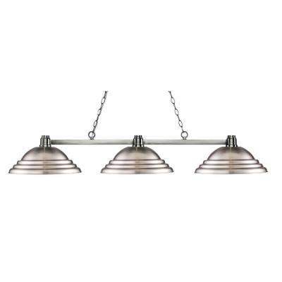 Peak 3 Light Brushed Nickel Billiard Light With Brushed Nickel Steel Shade