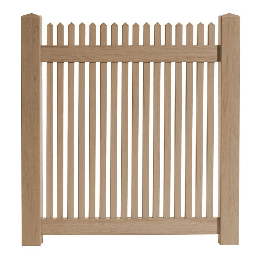 Veranda 4 ft. W x 4 ft. H Cedar Grove Redwood Vinyl Picket Fence ...