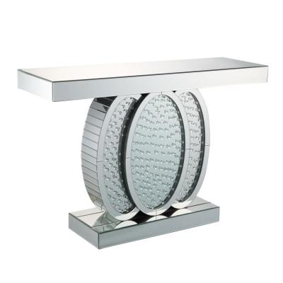 Nysa Mirrored with Faux Crystals Console Table