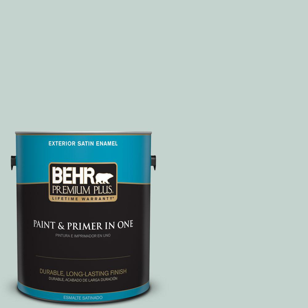 BEHR Premium Plus 1 gal. #N430-2 Natures Reflection Satin Enamel Exterior Paint