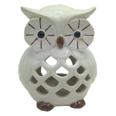 5.75 in. White Ceramic Owl Candle Holder